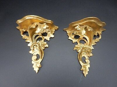 Pair of Antique intricate Gilt wood Gesso Florentine Shelves 7.5 inches