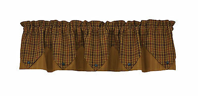 Primitive Spice Lined Point Valance 72X15 Mustard Rust Black Green Plaid Cotton