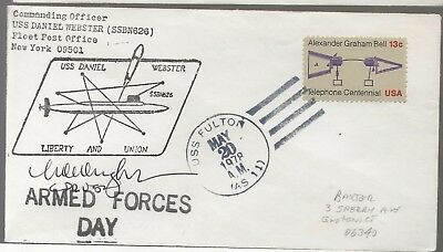 1978 USS Daniel Webster SSBN626 a   Submarine Cover Autographed by Commander