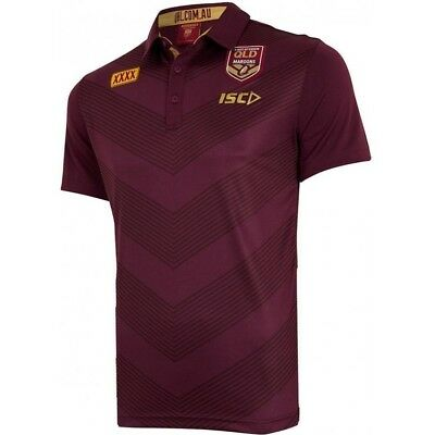 2018 Men`s Queensland QLD State Of Origin Maroons NRL Media Polo Shirt NWT