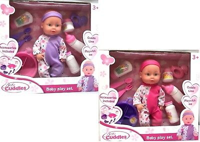Baby Cuddles Soft Baby Doll With Play Set With Accessories Xmas Gift For Kids