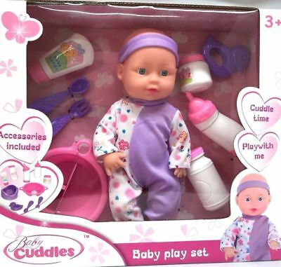 """10"""" Baby Doll Play Set With Feeding Accessories Milk Bottle Purple Xmas Gift"""