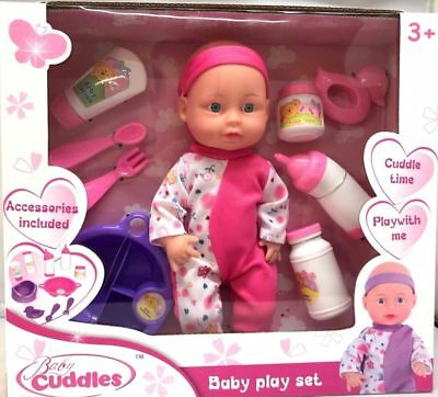 """10"""" Baby Doll Play Set with Feeding Accessories Milk Bottle Pink Xmas Gift"""