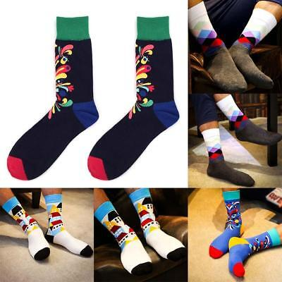 Mens Cotton Happy Socks Colorful Printed Casual Sock Male wedding Gift