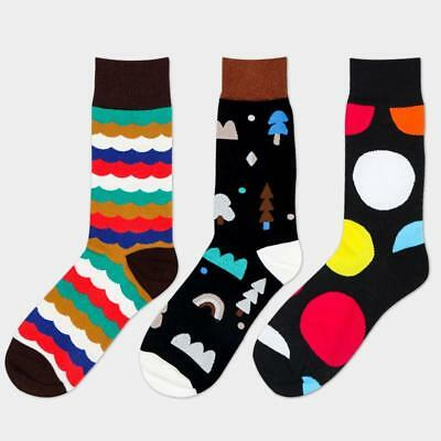 Mens Cotton Happy Socks Colorful Fashion Fancy Casual Circle Cloud Sock Male