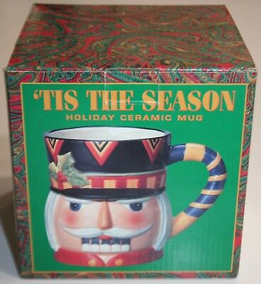 Nutcracker Mug 'TIS THE SEASON 'HOLIDAY CERAMIC LARGE 20 OZ MUG  *NEW*