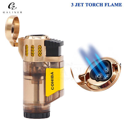 COHIBA Golden Transparency WindProof 3 Torch Jet Flame Cigar Cigarette Lighter