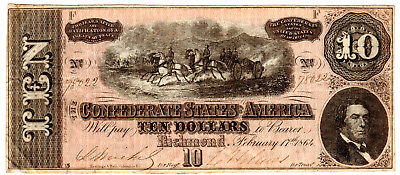 Confederate States of America $10 Dollars P-68 T-68 February 17, 1864