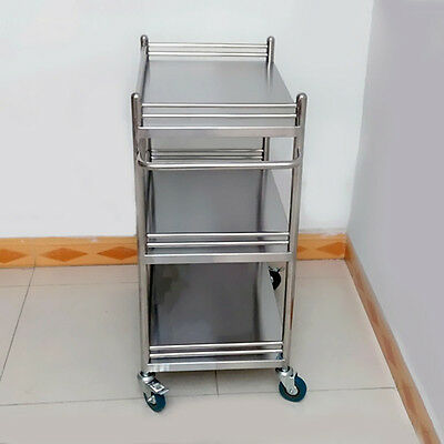 Unique Stainless Steel Three Layers Serving Medical Dental Lab Cart Trolley BCL