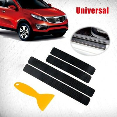 4Pcs Black Car Door Plate Anti Scratch Stickers 3D Carbon Fiber Sill Scuff Cover