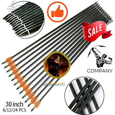 Archery 30''Glass Fiber Shaft Arrow Bolts Replace Tips Compound/Recurve Bow Hunt