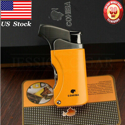 COHIBA Yellow Metal 1 Torch Jet Flame Cigar Cigarette Lighter 2 Punch Windproof