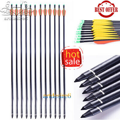 6pcs Archery 30'' Glass Fiber Shaft Arrow Bolts For Compound/Recurve Bow Hunting