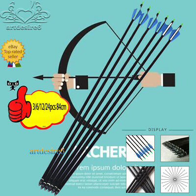 Archery 84cm Fiberglass Shaft Arrows Bolts Compound/Long Bow Hunting w/3'' vanes