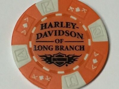 Harley Poker Chip   HD of LONG BRANCH   LONG BRANCH, NJ    ORANGE & WHITE