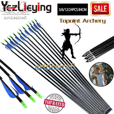 84cm Fiberglass Shaft Arrows Bolts Compound/Long Bow Archery Hunting w/3'' vanes