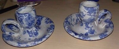 Bybee Pottery Candle Holders White And Blue Spongeware. Collectible