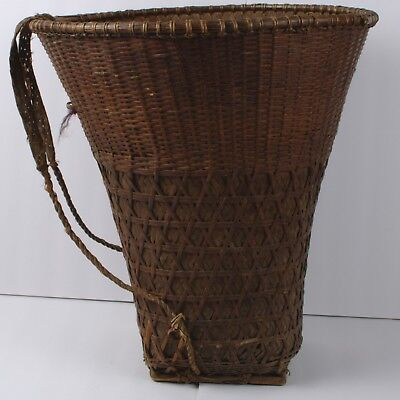 "18"" Vintage Asian Vietnamese? LARGE Hand Woven Basket with backpack straps"