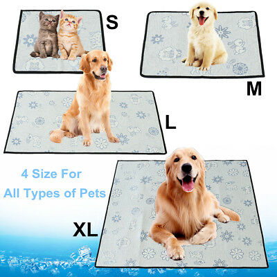 Pet Dog Cat Cooling Mat Chill Bed Summer Cushion Pad Cooler Heat Relief S/M/L/XL