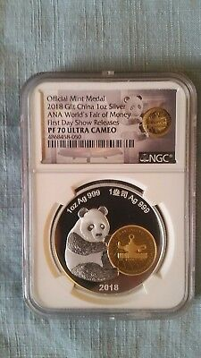 2018 China 1 oz Silver PF70 ANA World's Fair Of Money FIRST DAY SHOW RELEASES