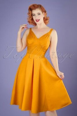 Miss Candyfloss Odessa Swing Dress S US4  Vintage Retro Yellow PinUp Rockabilly