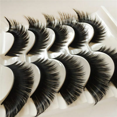 5PAIRS FALSE EYELASHES EXTRA LONG Dramatic Thick Volume Lashes WSP