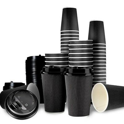 Disposable Coffee Cups 8oz Triple Wall Cups For Take Away 100 Cups and 100 Lids