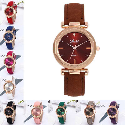 Fashion Womens Leather Casual Watches Luxury Analog Quartz Crystal Wristwatch