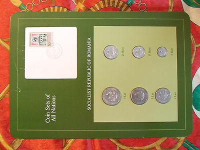 Coin Sets of All Nations Romania 1966 - 1982 UNC Nasturel Stamp w/card