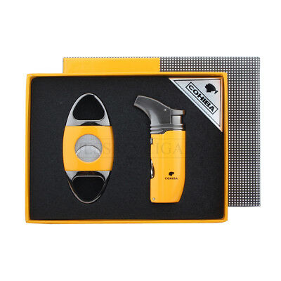 COHIBA Yellow Metal 2 Torch Jet Flame Cigar Lighter With Cigar Cutter Cigar Set