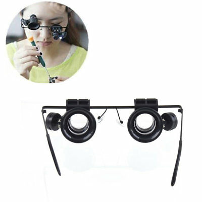 20X LED Magnifier Magnifying Double Eye Glasses Loupe Lens Jeweler Watch new BK#