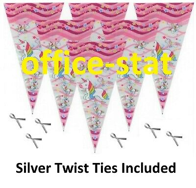 Unicorn Sweet Cones Bags Loot Favour Childrens Party Bags and Tie
