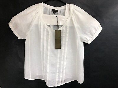 8da23944ddb915 New PURE COLLECTION Women's White Linen Short Sleeve Top Blouse Shirt sz ...