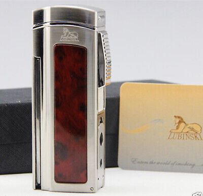 LUBINSKI Red Metal 4 Torch Jet Flame Cigar Lighter With Cutter 2 Punch Classic