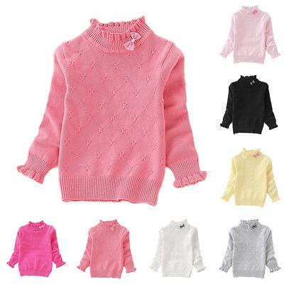 Baby Girl Kid Knitted Sweater Stand Collar Pullover Tops Winter Simple Plain New