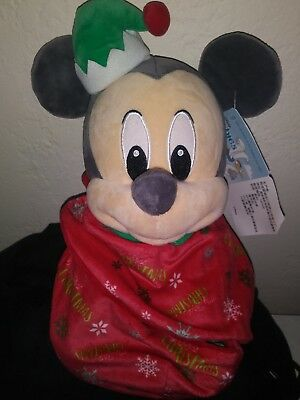 """Baby Christmas Mickey Plush with Blanket Pouch 10"""" Babies Disney Theme Parks NEW"""