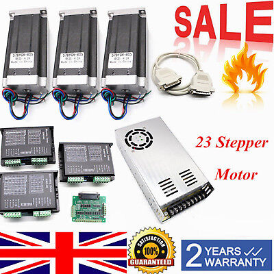 3 Axis Stepper Motors Nema 23 3Pcs 425oz-in CNC Kit + Motor driver/ Power supply
