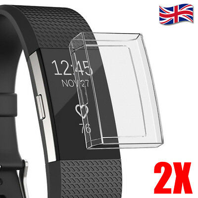 2X For Fitbit Charge 2 Bracelet Soft TPU Full Cover Clear Case Screen Protector