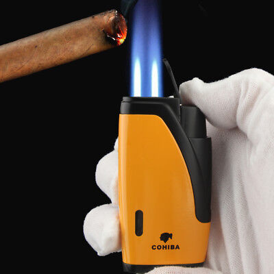 Cohiba Yellow Metal Windproof 2 Torch Jet Flame Cigar Cigarette Lighter W/ Punch