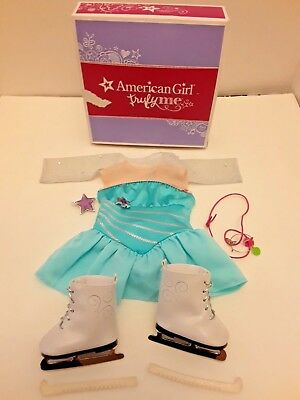 American Girl Doll Sparkly Skating Outfit and Ice Skates Set Shrug teal orig $44