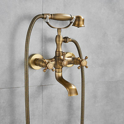 Antique Brass Vintage Clawfoot Bath Tub Faucet with Handshower - Wall Mounted
