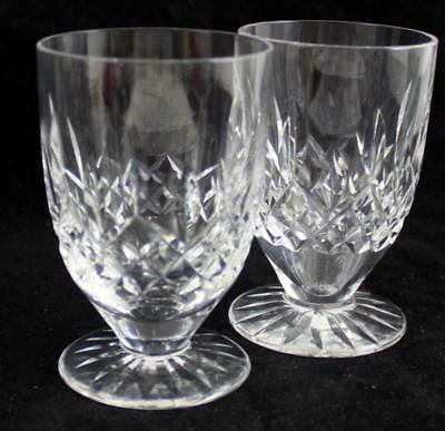 Waterford LISMORE 2 Footed Juice Glasses Vintage Etched Foot GREAT CONDITION