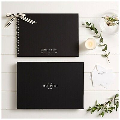 Gift Boxed Black A4 Memory Condolence Book with Card - Funeral, Sympathy Gift