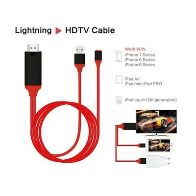 2m 1080P 8Pin Lightning to HDMI TV AV Adapter Cable for iPhone 5 6 6S 7 8Plus X