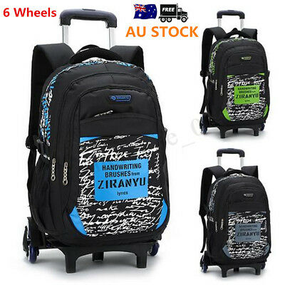 Children 6 Wheels Trolley Backpack Boys Girls School Rucksack Shoulder Bag Kids