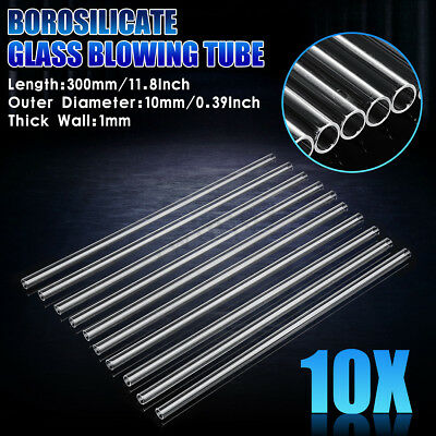 10Pcs Transparent Wall Borosilicate 300mm OD 10mm 1mm Thick Glass Blowing Tube