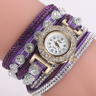 Ladies Women Fashion Casual Analog Quartz Rhinestone Bracelet Wrist Watch Luxury