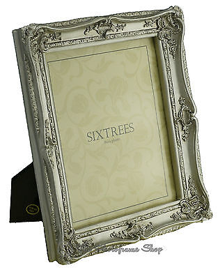 Sixtrees Chelsea Shabby Chic Vintage Ornate Antique Silver 10x8 inch Photo frame