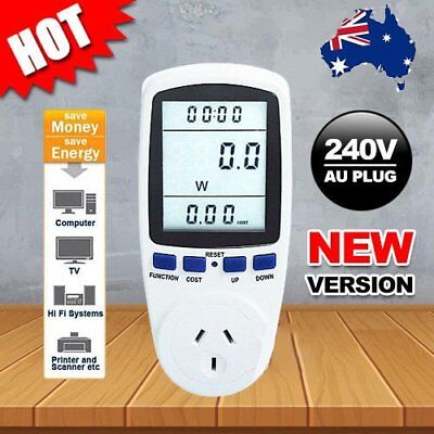 AU Plug Power Energy Consumption Watt Meter Electricity Usage Monitor Socket GK