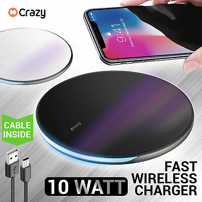 Crazy Qi Charging Wireless Charger For iPhone X XR XS MAX 8 Samsung S9 S8 S10 +